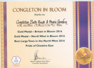 Congleton In Bloom certificate of thanks